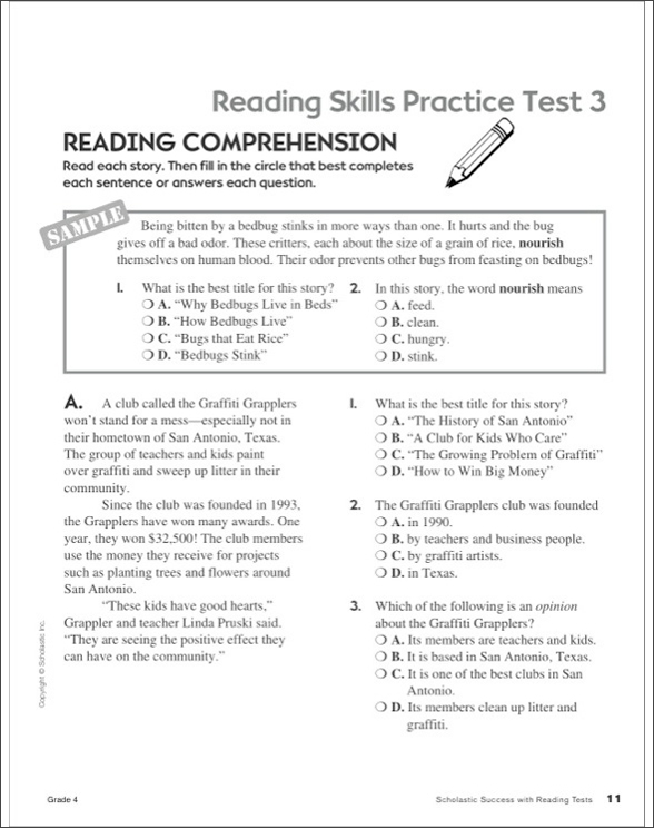 Scholastic Success With Reading Tests: Grade 4 by