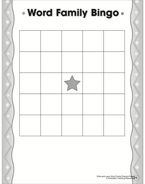 Word family bingo template by word family bingo template maxwellsz