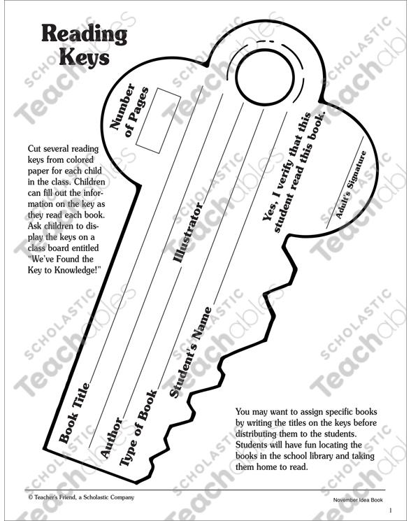 Reading Keys Reading Record Worksheet By