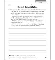 Great Substitutes (Usage): Grammar Practice Page (Grades 4-5)
