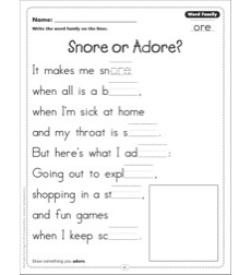 Snore or Adore? (Word Family -ore): Word Family Poetry Page