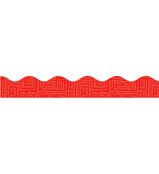 Red Graphic Pattern Scalloped Trimmers