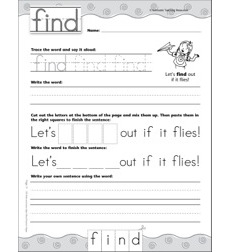 Interactive Practice Page (Sight Word: Find): Write-and-Learn Practice Page