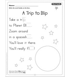 A Trip to Blip (Word Family -ip): Word Family Poetry Page