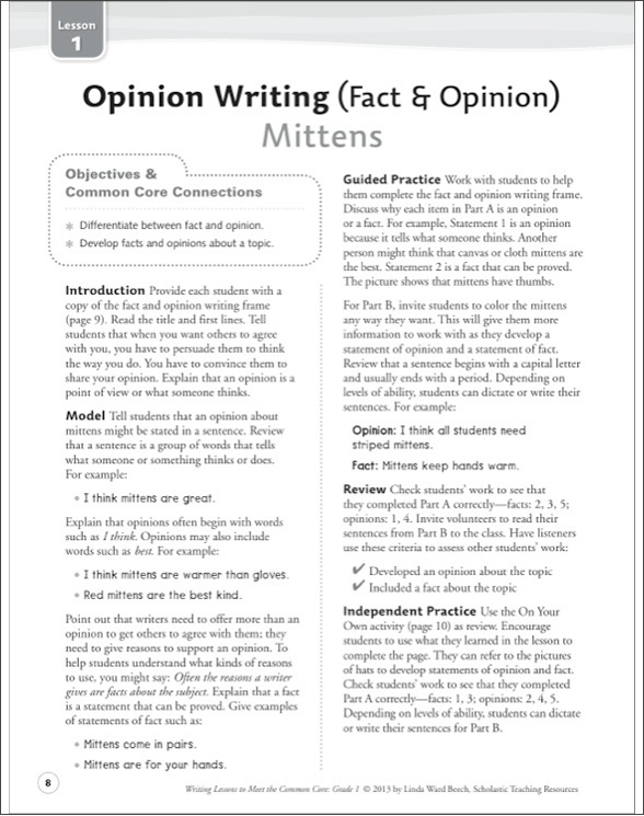 Writing Lessons To Meet the Common Core: Grade 1 by Linda Ward Beech