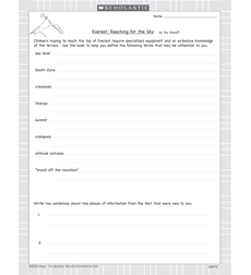 Scholastic History Readers: Everest: Reaching for the Sky - Activity Sheet