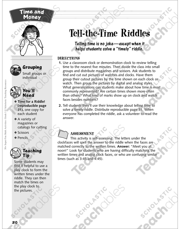 Tell-the-Time Riddles (solving a time riddle): Time and Money
