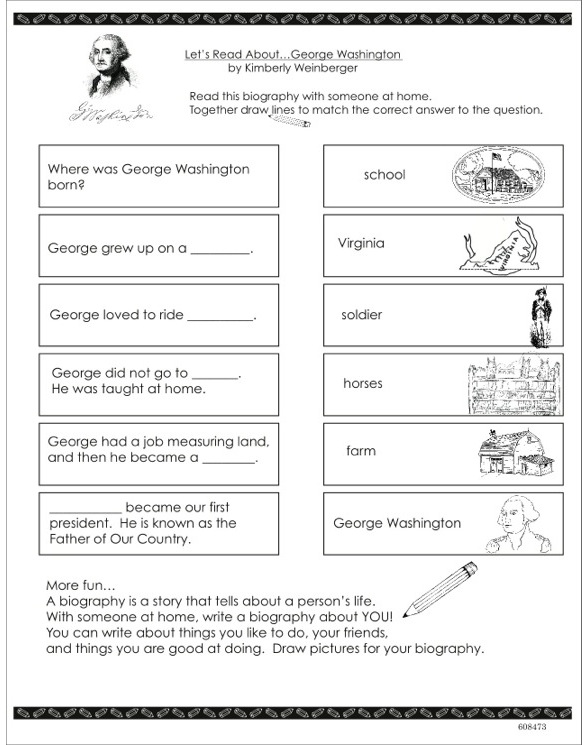 Scholastic First Biographies Lets Read About George – George Washington Worksheet