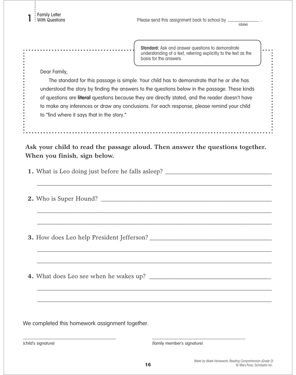 Week-by-Week Homework: Reading Comprehension Grade 3 by Mary ...