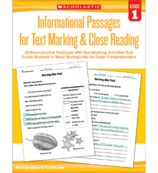 Informational Passages for Text Marking & Close Reading: Grade 1