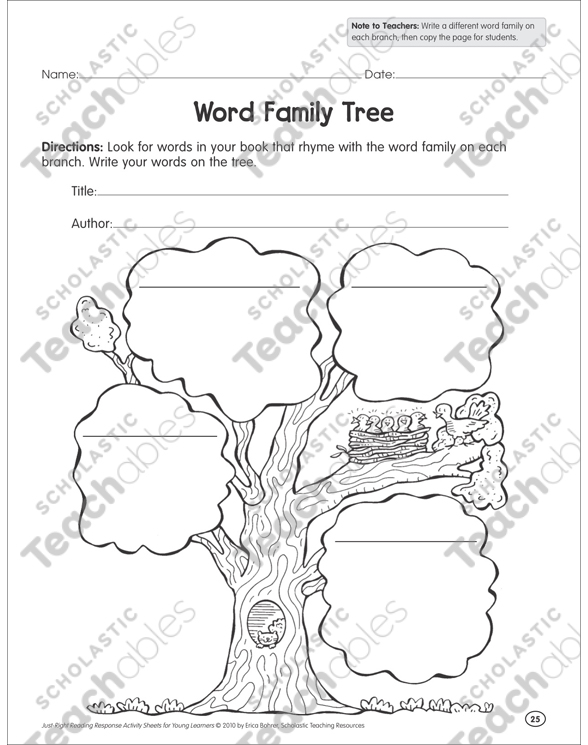 word family tree reading response graphic organizer by