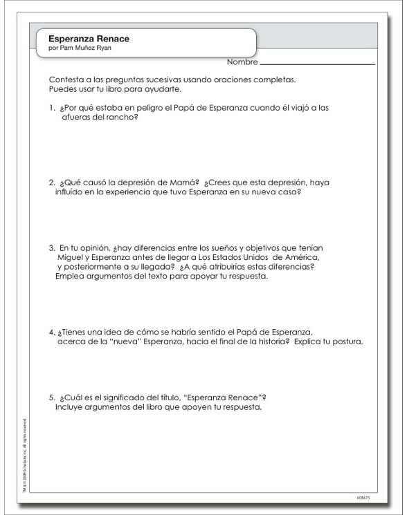 Esperanza renace by Pam Mu oz Ryan – Esperanza Rising Worksheets