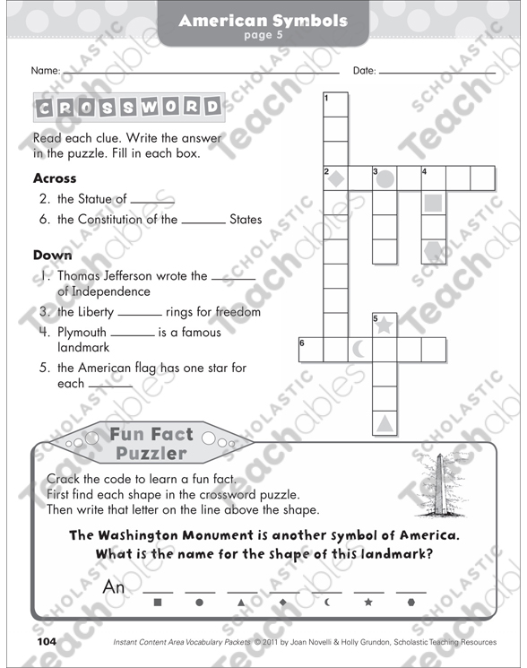 American Symbols Social Studies Vocabulary Packet By