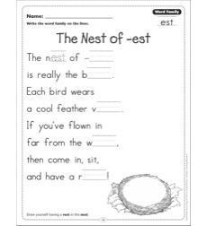 The Nest of -est (Word Family -est): Word Family Poetry Page