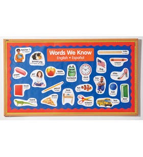 English-Spanish Photo Word Wall Bulletin Board