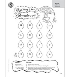 Racing for Raindrops (Addition & Subtraction): One-Page Math Game