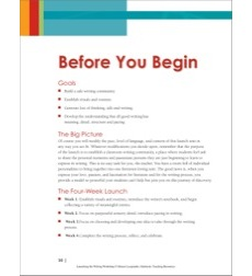 Launching the Writing Workshop: Before the Start of School - Getting Ready