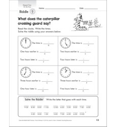 Solve-the-Riddle: Telling Time - Elapsed Time - Hour, Half Hour, Quarter Hour