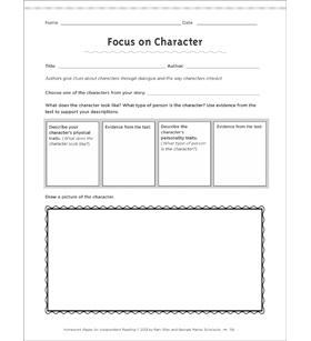 Focus on Character: Independent Reading Homework