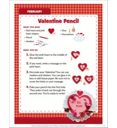 Valentine Pencil (February): Follow-the-Directions Art Project