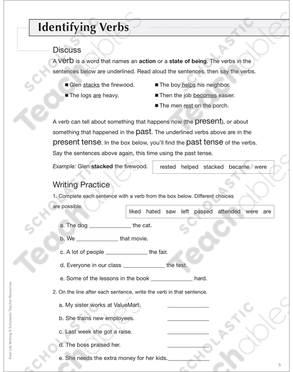 Action Verbs Grade 5 Differentiation Pack by
