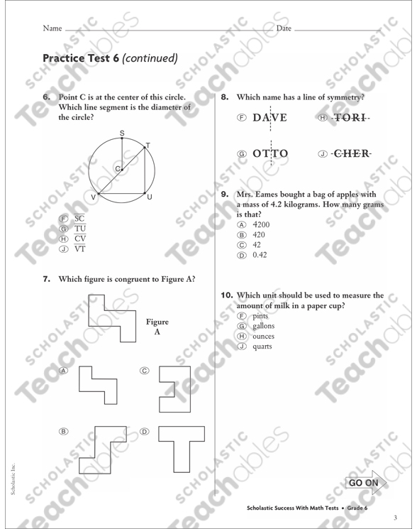 Geometry and Measurement Practice Test 6: Math Skills (Grade 6) by