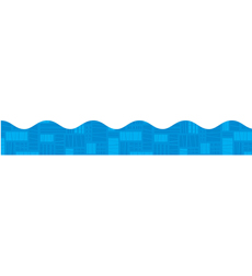 Blue Graphic Pattern Scalloped Trimmer