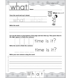 Interactive Practice Page (Sight Word: What): Write-and-Learn Practice Page