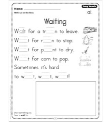 Waiting (Long Vowels - ai): Phonics Poetry Page