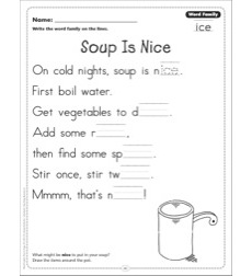 Soup Is Nice (Word Family -ice): Word Family Poetry Page