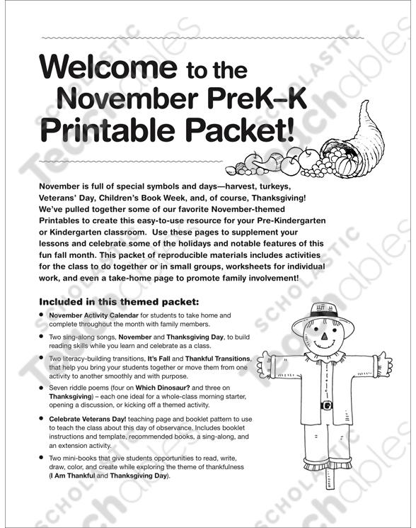 November Prek K Printable Packet By