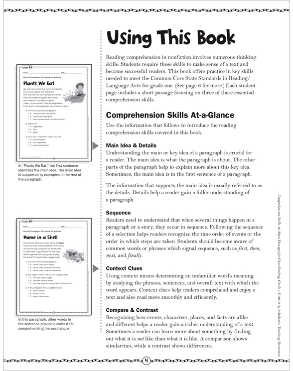 Comprehension Skills 40 Short Passages For Close Reading Grade 1 By