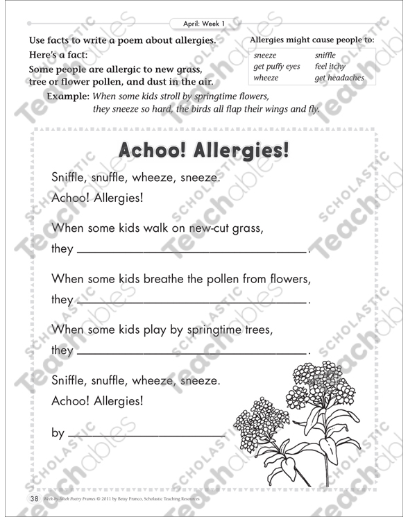 Achoo! Allergies! (From Facts to Poetry): April Poetry Frame by