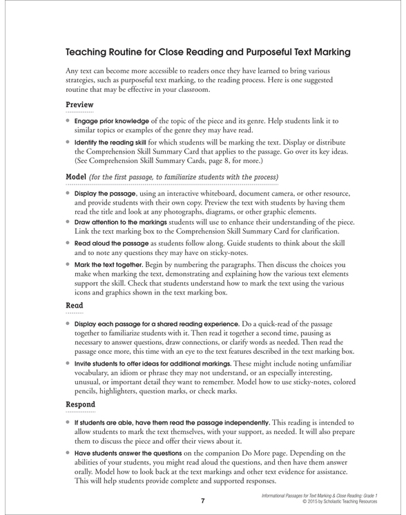 Informational Passages For Text Marking Close Reading Grade 1 By
