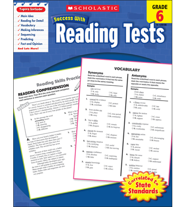 Scholastic Success With Reading Tests: Grade 6