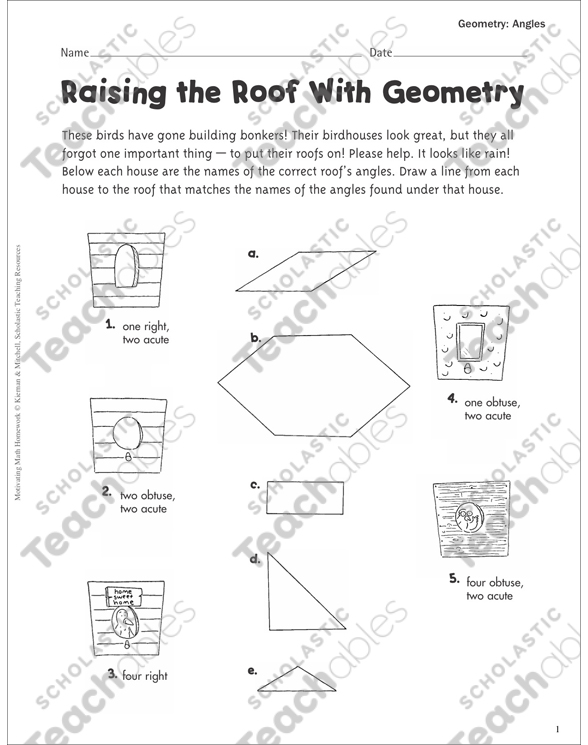 Raising the Roof With Geometry (Angles): Geometry Practice Page