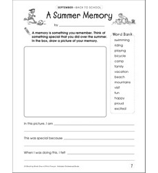 A Summer Memory: Draw and Write Prompt