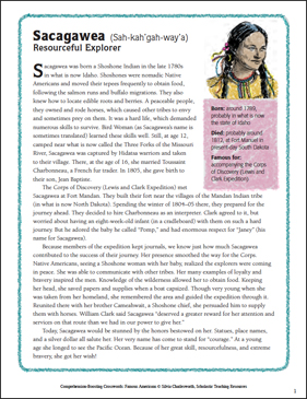 Sacagawea: Nonfiction Passage & Crossword Puzzle