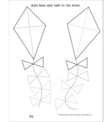 Triangles on Kites: Pre-Writing Practice Page: Pre-Writing Practice Page