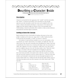 Describing a Character: Inside (Narrative Writing): Leveled Graphic Organizers