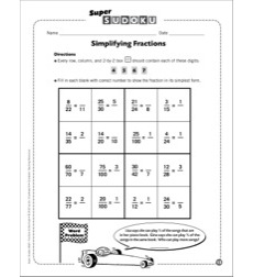 Sudoku Puzzle: Simplifying Fractions