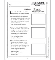 A Fair Share (Fractions - Dividing Sets Into Equal Parts): Fast Finishers - Grades 2-3