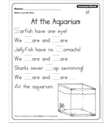 At the Aquarium (Consonant Blends - st): Phonics Poetry Page