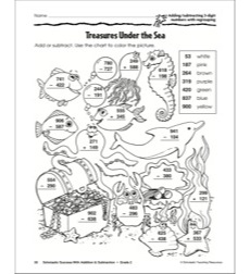 Treasures Under the Sea (Adding/Subtracting 3-Digit Numbers With Regrouping) (Grade 2)