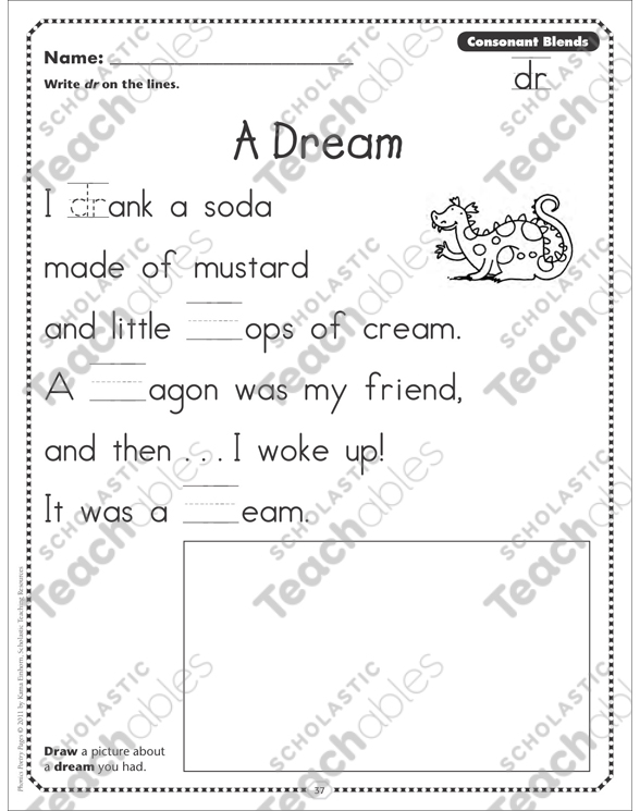 A Dream Consonant Blends Dr Phonics Poetry Page By. A Dream Consonant Blends Dr Phonics Poetry Page. Worksheet. Blends Phonics Worksheets At Mspartners.co