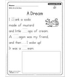 A Dream (Consonant Blends - dr): Phonics Poetry Page