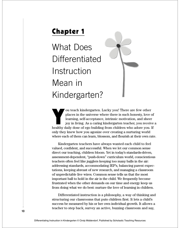 Differentiating Instruction In Kindergarten By Cindy Middendorf