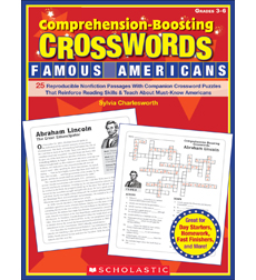 ComprehensionBoosting Crosswords Famous Americans By Sylvia - Us map crosswords scholastic professional books answers