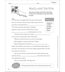 Marly and the Kite: Quick Cloze Passage (Grades 4-6)