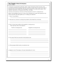 Teen Tragedy: A Real-Life Emergency - Activity Sheet